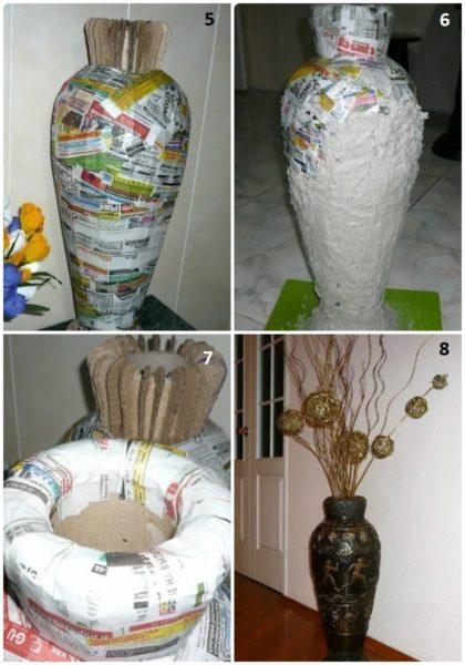 protsess-sozdaniya-napolnoy-vazy-420x600 Как сделать вазу из банки своими руками: 6 способов и 50 фото