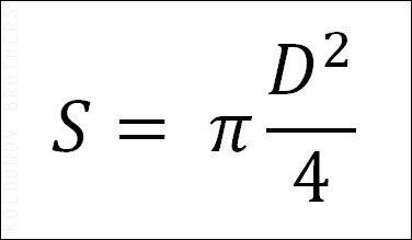 Расчет площади отверстия по его диаметру.