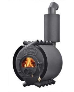 Серийная печь со встроенным теплообменником на дымоходе.