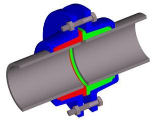 Схематичное изображение фланцевого соединения.