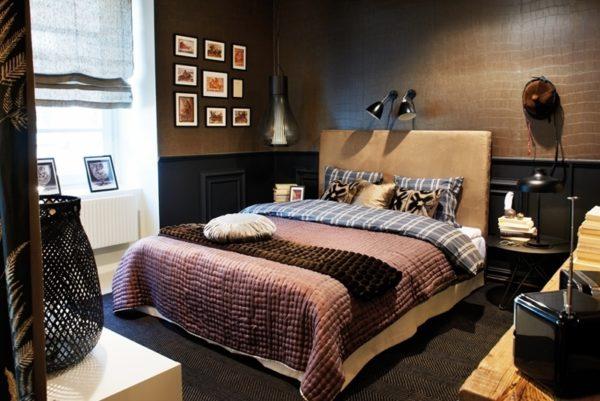 Сочетание коричневого с черным позволяет получить «мужской» дизайн с характером