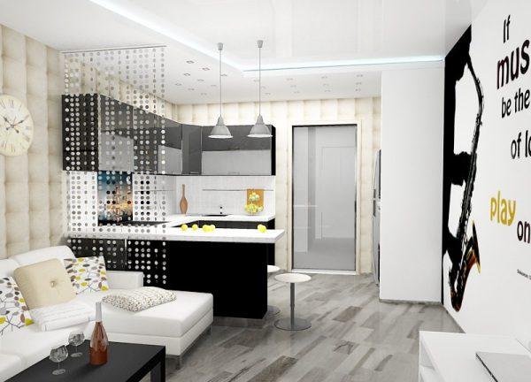 Совместив интерьер комнаты и дизайн кухни 18 кв м, вы получите просторное и оригинальное пространство