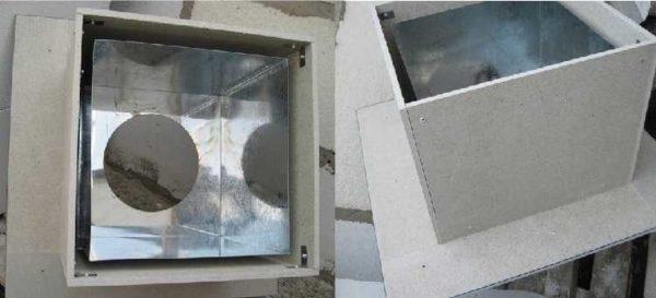 Спаренный короб из металла и минерита.