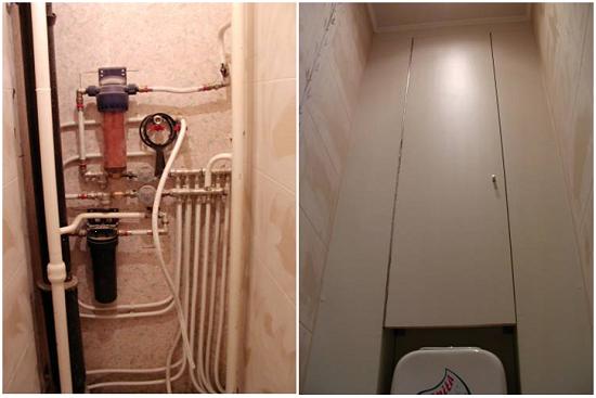 Вот так обычно выглядят коммуникации в туалете до установки обшивки