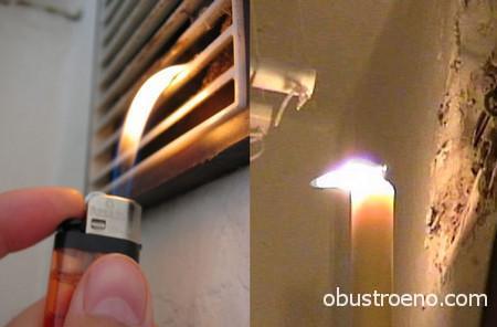 Я предпочитаю так проверять эффективность работы вентиляции.