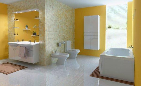Бежевые оттенки «смягчают» интерьер ванной