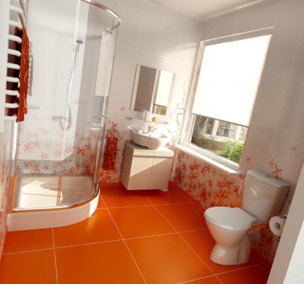 Большие плиты и яркий цвет делают комнату больше