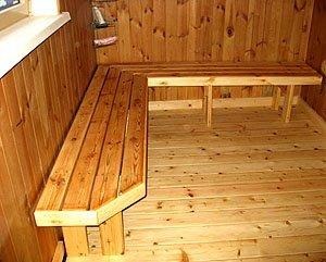 Деревянный пол – идеальный вариант для русской бани