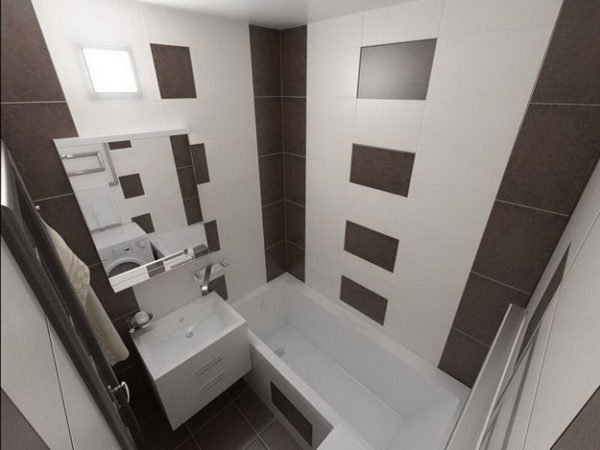 Дизайн в ванной в панельном доме при раздельном санузле