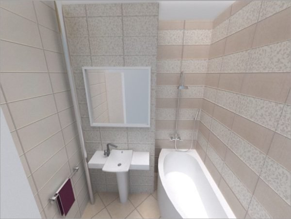 Для маленькой ванны больше подходят светлые тона и горизонтально ориентированные детали облицовки.