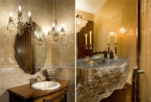 Если вам позволяет площадь ванной, выберите два боковых бра для освещения зеркала