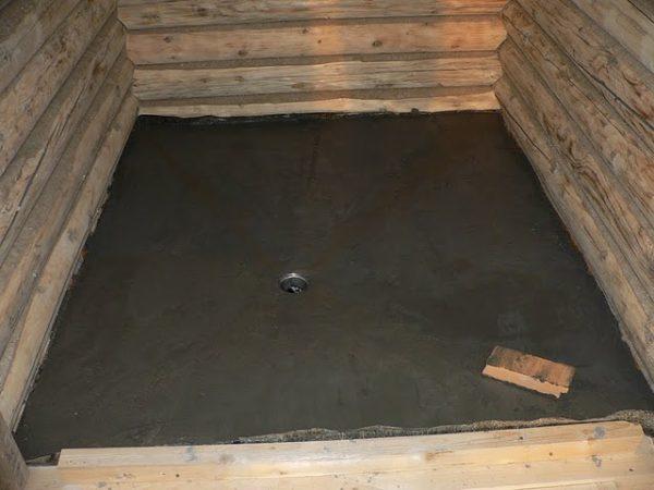Фото бетонной стяжки в парильне