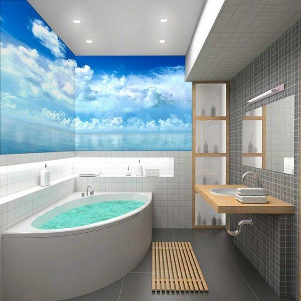 Фотообои на стене в ванной.