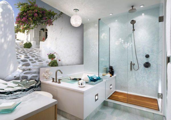 Фотообои в ванную комнату с эффектом городского пейзажа