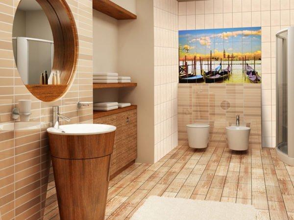 Фотопанно в качестве акцента и декора в ванной комнате