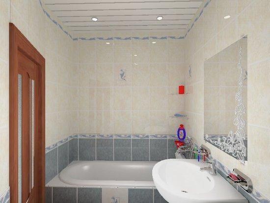 реечный потолок в ванной комнате фотографии