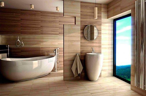 Имитация дерева – модное нынче направление в оформлении ванных