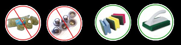 Используем только мягкие губки: металлический скребок гарантированно оставит царапины