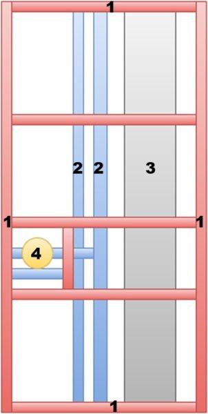 Каркас для образования фальшстены: 1 - деревянные рейки; 2 - водопроводные трубы; 3 - канализационный стояк; 4 - водомер