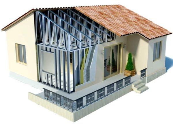 Каркас дома в этом примере изготовлен из профильной трубы