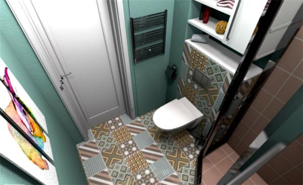 Комбинированная плитка бирюзового цвета для ванной с эффектом «пэчворк» (цена – от 560 руб.)