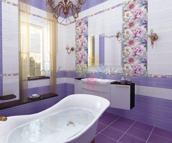 Красивая фиолетовая керамика в ванной