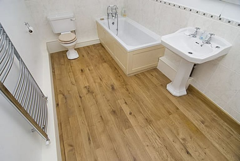 Bathrooms with wood tile floors