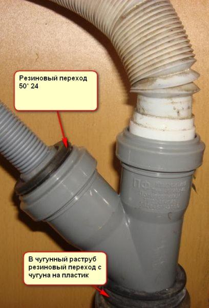Машина подключена к канализации через установленный под умывальником косой тройник.