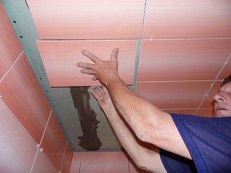 Монтаж керамики на потолок из гипсокартона