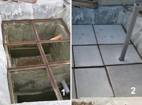 На фото – один из способов конструирования перекрытия над ямой для туалета.