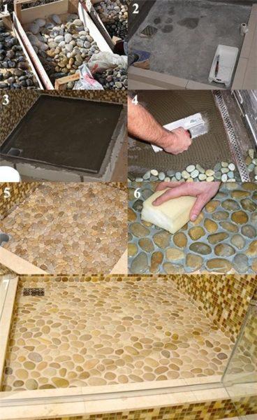 На фото последовательность укладки отдельных камешков