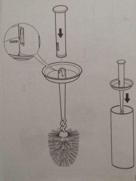 На изображении инструкция по сборке щетки NEW IKEA LOSJON