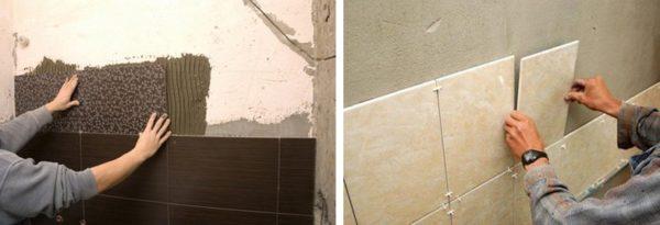 Один мастер наносит клей на стену, а другой – на плитку. А как правильно?