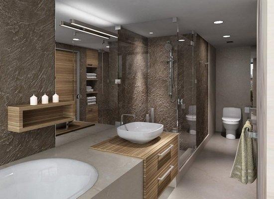 Оформленные декоративной штукатуркой стены в ванной смотрятся свежо и необычно.