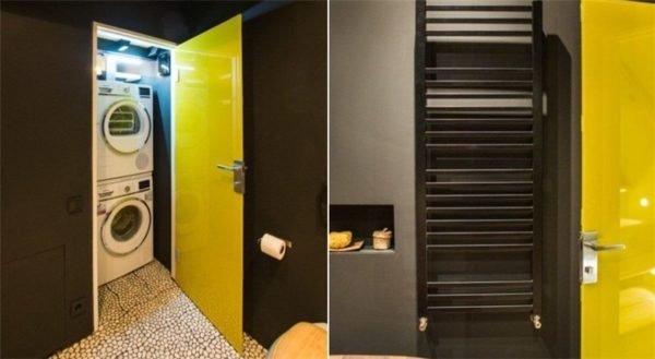 Организация постирочной в небольшой ванной комнате
