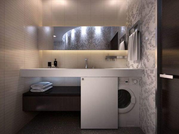 Пластмассовый шкаф для стиральной машинки с раздвижной дверью