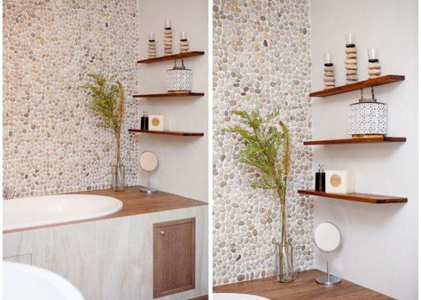 Плитка под гальку для ванной в отделке стен