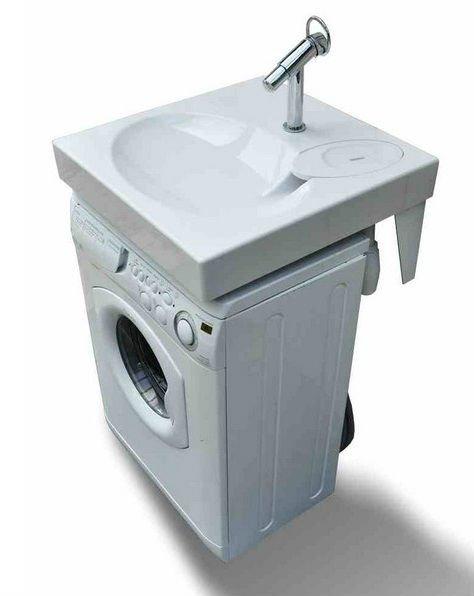Плоские раковины отлично сочетаются со стиральными машинками