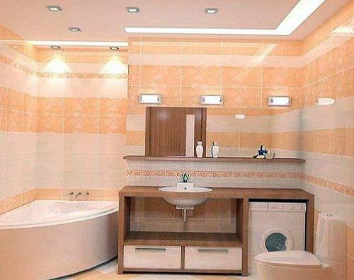 Пример точечного освещения ванной комнаты