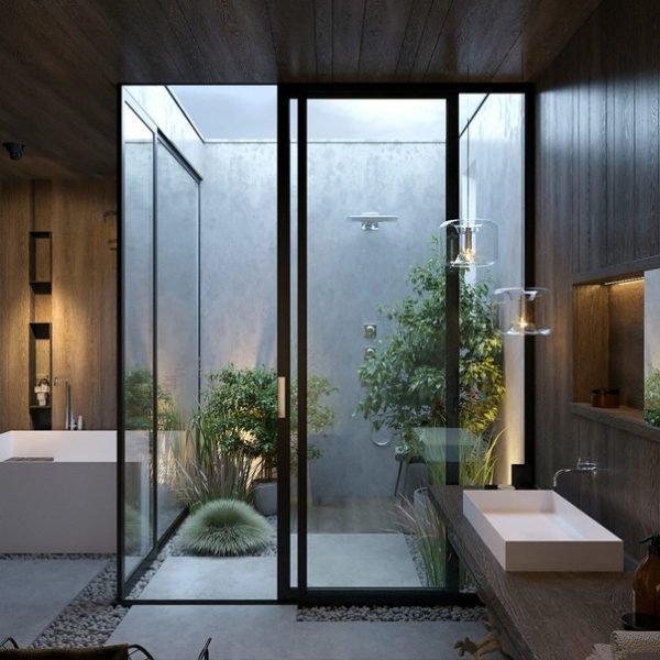 Пример ванной комнаты с живой зеленью