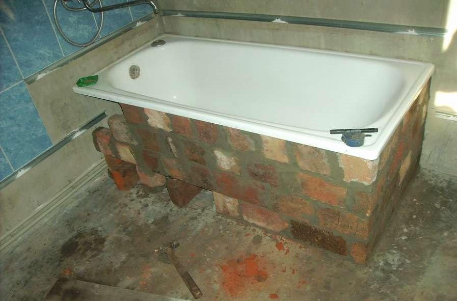 Каркас для ванны из кирпича своими руками