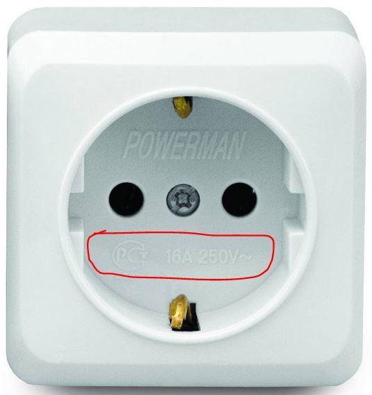 Розетка рассчитана на ток в 16 ампер при напряжении до 250 вольт.