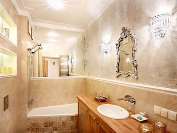 С помощью штукатурки ванную комнату можно превратить в шедевр интерьерного дизайна.