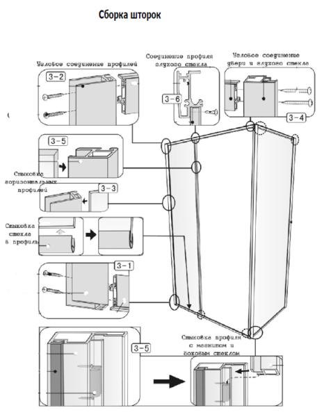 Схема сборки шторок (один из вариантов)