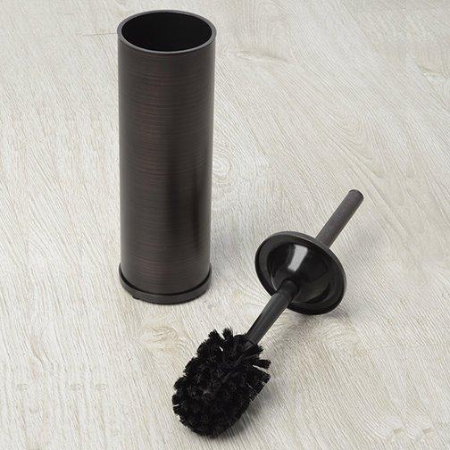 Строгая туалетная щетка под бронзу подойдет для санузла в минималистичном исполнении