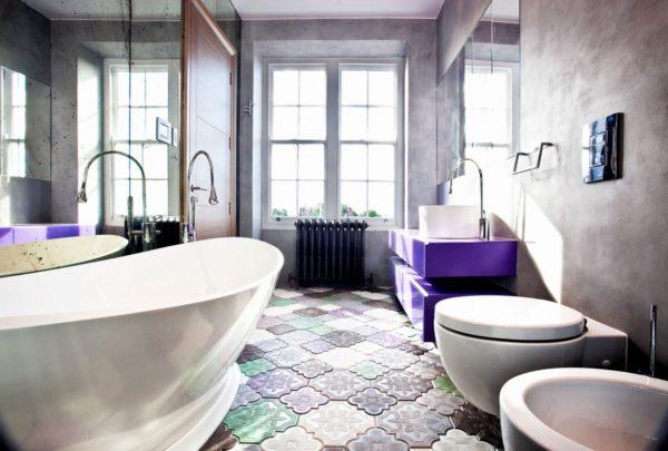 «Тротуарная» плитка в дизайне ванной