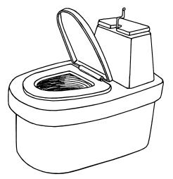 Туалет с ручкой для распределения торфа.