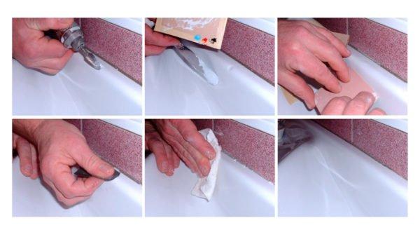 Устранение небольших дефектов эмалевого покрытия.