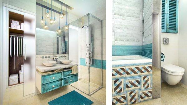 Ванная комната в бирюзовом цвете в сочетании с голубым и песочным