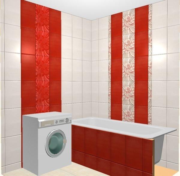 Вертикальные полосы – еще один способ визуального увеличения высоты потолка в ванной.